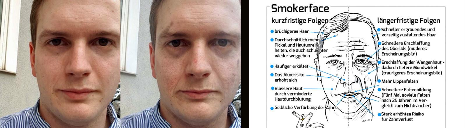 Zu sehen ist Titus Brinker, der Erfinder der App Smokerface, die anzeigt, wie man nach mehreren Jahren Rauchen aussieht.