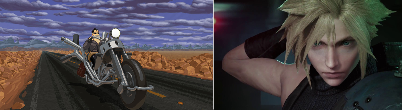 "Stills aus den Computerspiel-Remakes von ""Vollgas - Full Throttle"" und ""Final Fantasy 7"""