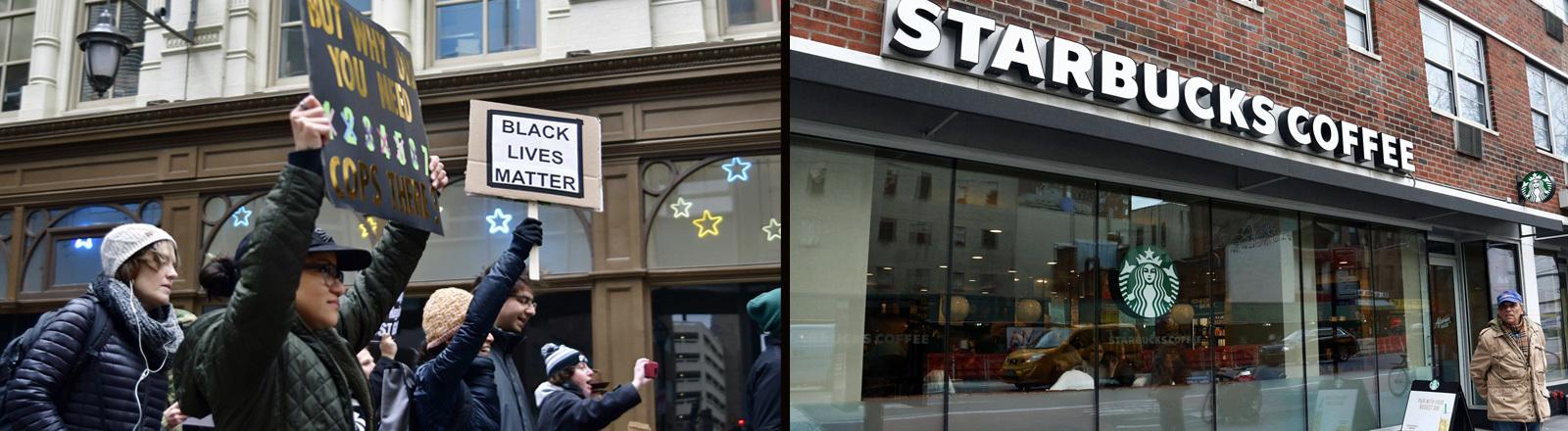Eine Starbucksfiliale in den USA, in New York, am Tag nach der Ankündigung, dass Starbucks am 29. may 2018 8000 Filialen für einen halben Tag für ein Anti-Rassismus-Training schließt.