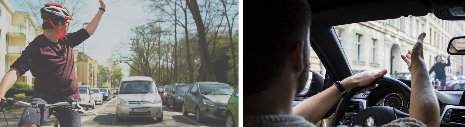 Klaas Reese auf dem Rad, Paulus Müller im Auto, Autofahrer schimpft auf Radfahrer