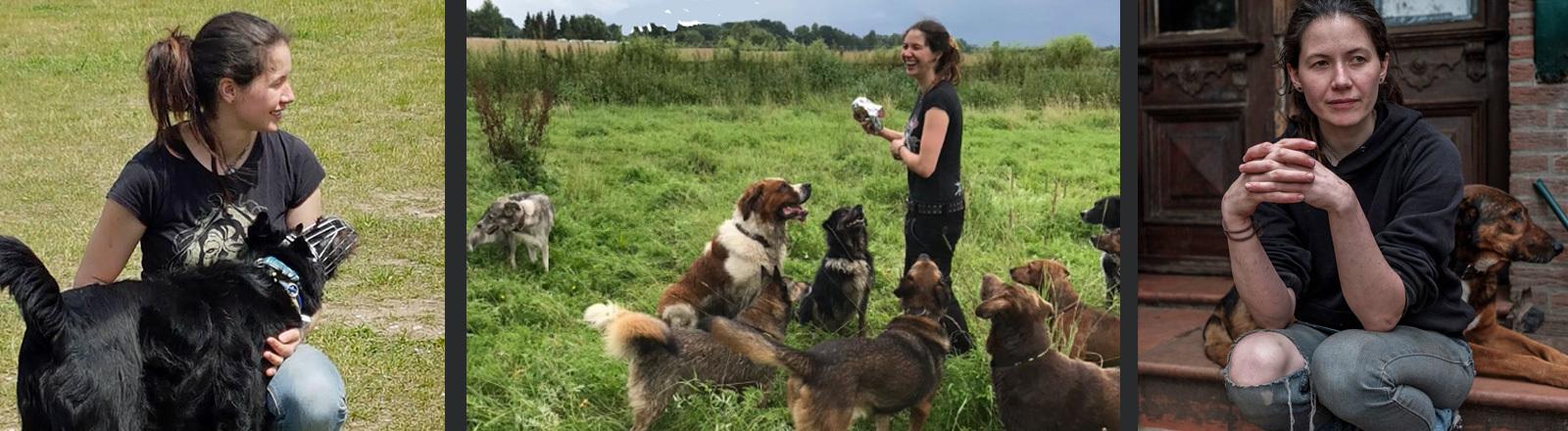 Vanessa Bokr mit schwer erziehbaren Hunden.