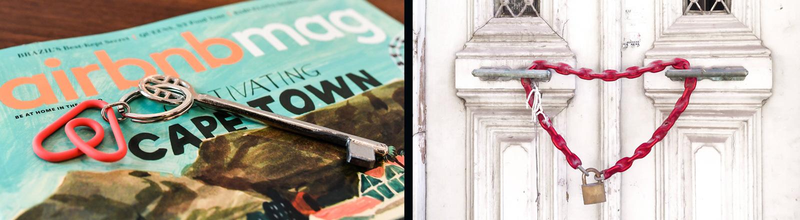 Eine Airbnb Zeitschrift mit Schlüssel auf einem Tisch.