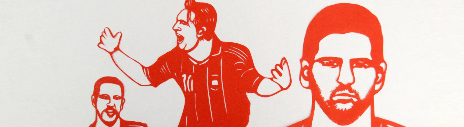 Verschiedene bekannte Fußballer wie Neymar und Messi als Scherenschnitt.
