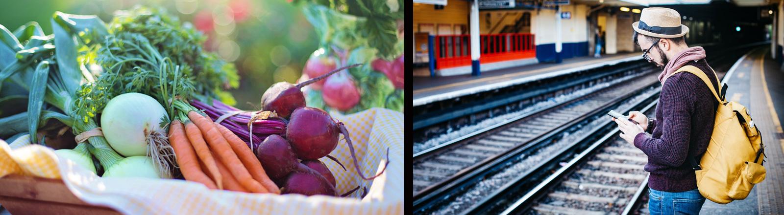 Gemüse und ein Mann, der am Bahnsteig steht und auf sein Handy schaut.