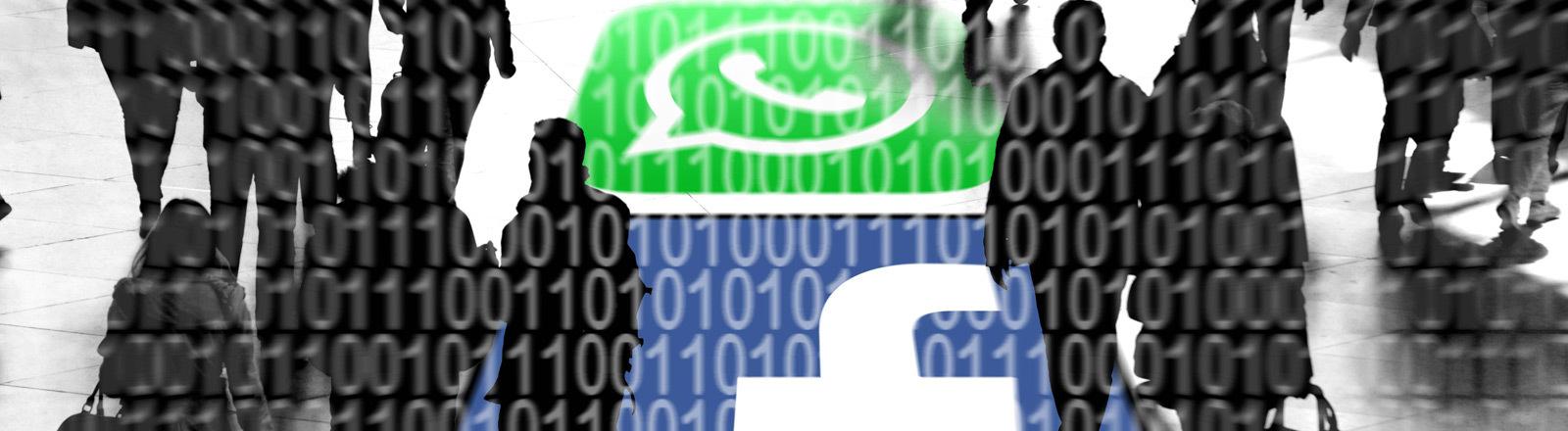 Symbolbild: Whatsapp- und Facebook-User und ihre persönlichen Daten.
