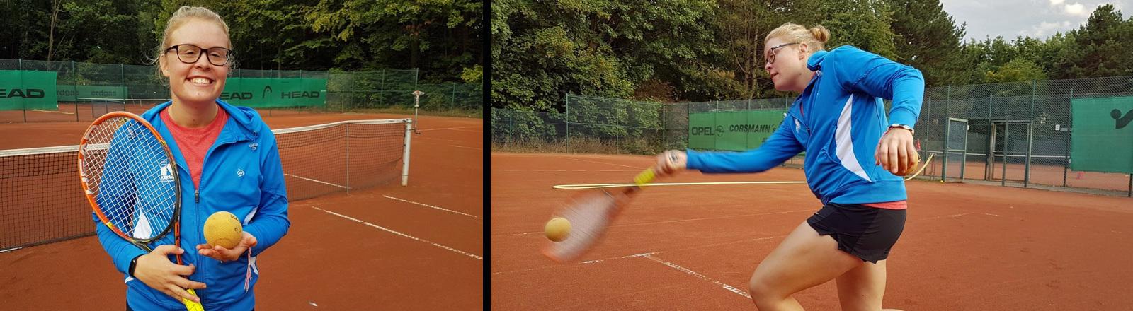 Blinden-Tennis-Spielerin Charlotte Schwagmeier beim Training.