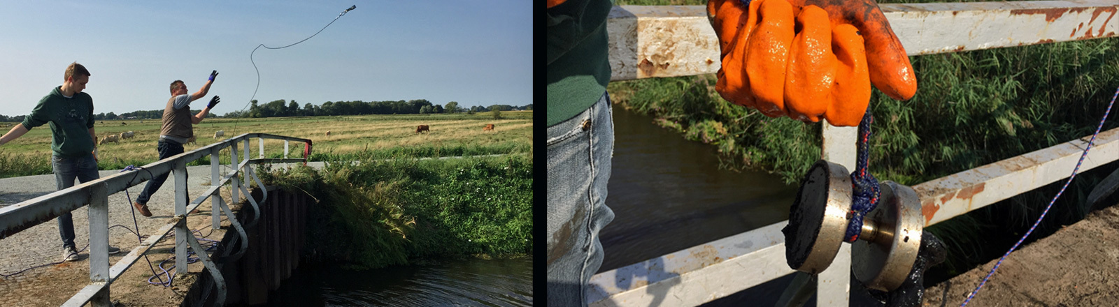 Magnetangler oder Magnetfischer werfen von einer Brücke die Schnur ins Wasser. An dem Haken hängt ein sehr starker Magnet.