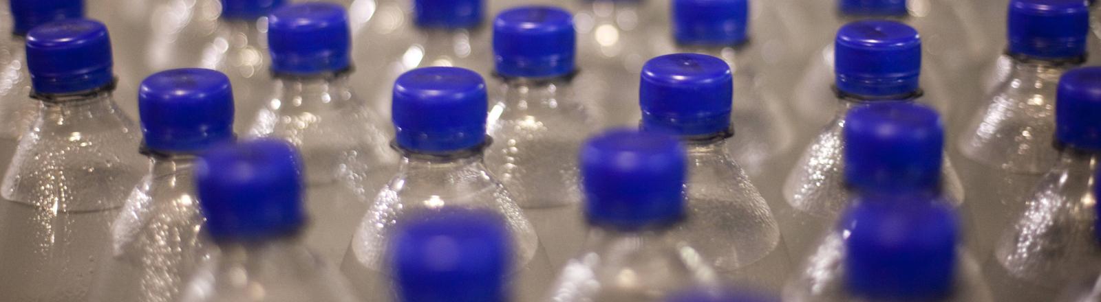 Viele Einwegflaschen mit blauen Deckeln.