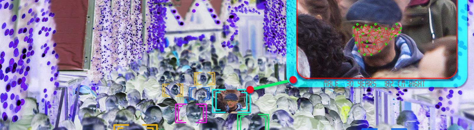 Ein Beispiel, wie Gesichtserkennungssoftware funktionieren könnte. Aus einer großen Menschenmenge wird ein Gesicht gescannt und anhand mehrerer Pixelpunkte spezifiziert.
