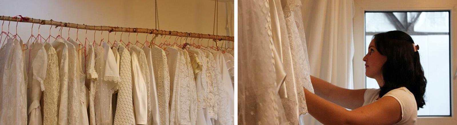 Second-Hand-Brautkleider am Kleiderhaken. Daneben: Eine Frau sucht nach einem passenden Kleid.