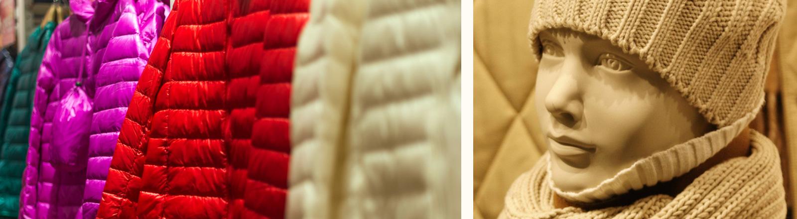 Wintermäntel an der Stange und eine Schaufensterpuppe mit Mütze und Schal.