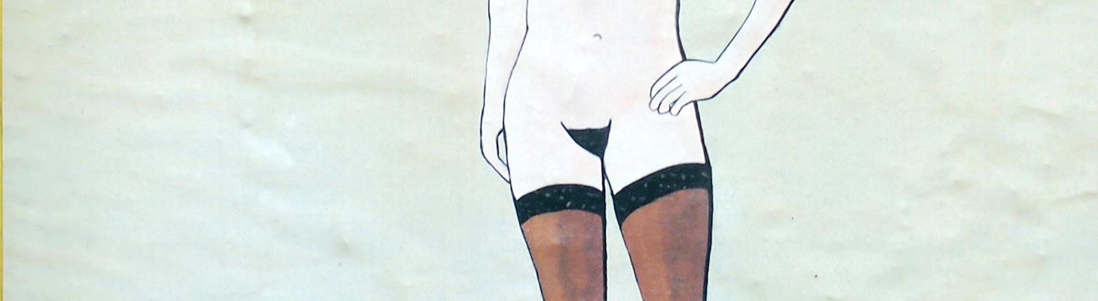 Graffiti mit Beinen einer nackten Frau