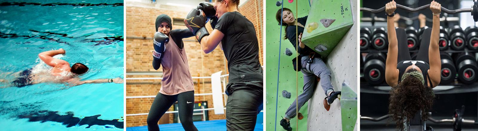Ein Schwimmer, eine Boxerin, eine Frau in der Kletterwand, eine Gewichtheberin.