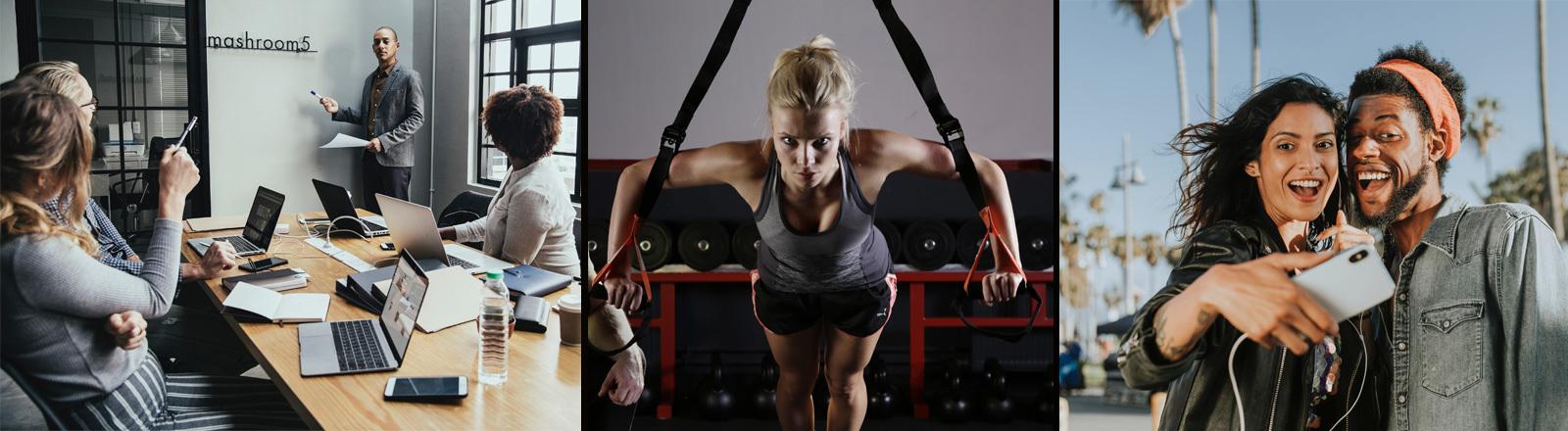 Eine durchtrainierte Frau im Fitnessstudio und rechts eine Frau und ein Mann, die fröhlich gucken und ein Selfie von sich machen.