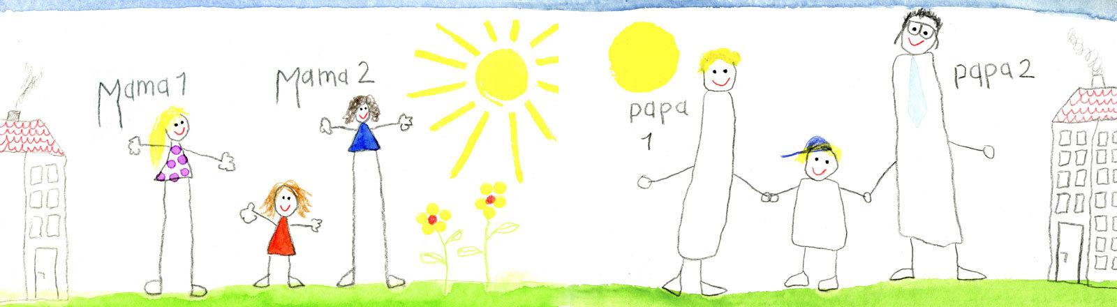 """Zwei Kinderzeichnung auf der ein Mädchen und zwei Erwachsene und ein Junge und zwei Erwachsene zu sehen sind. Links wurden die Erwachsenen mit """"Mama1"""" und """"Mama2"""" beschrieben und rechts mit """"Papa1"""" und Papa2""""."""