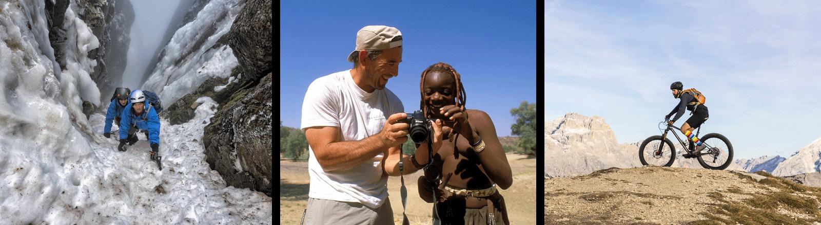 Zwei Männer steigen eine eisige Felswand rauf und ein Mann steht neben einer Frau aus Afrika und zeigt ihr seinen Fotoapparat und ein Mann fährt durch die Berge mit dem Mountainbike.