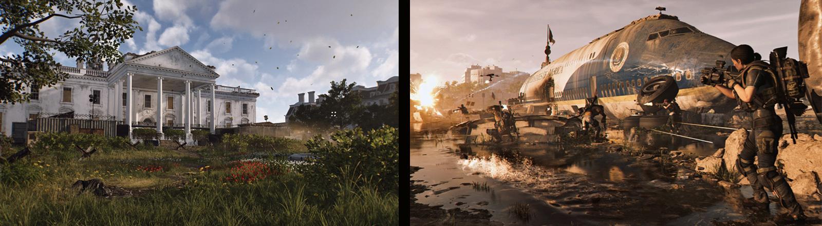 Abbildung des Weißen Hauses im Computerspiel The Division 2. Daneben ein Screenshot aus demselben Spiel. Hier ist ein beschossenes Flugzeug zu sehen und Menschen mit Maschinenpistolen.
