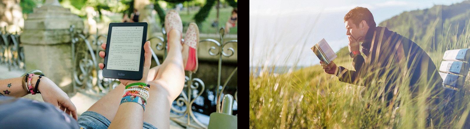 Links: Eine Frau liest im E-Reader. Rechts: Ein Mann liest im Buch.