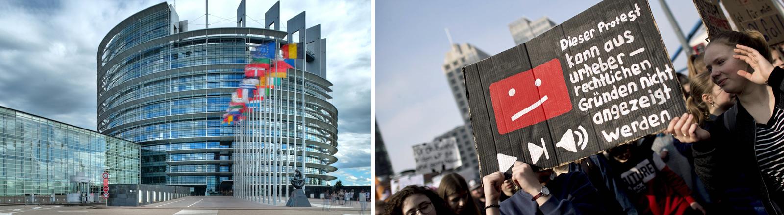 Das Europäische Parlament und Demonstrationen gegen Uploadfilter.