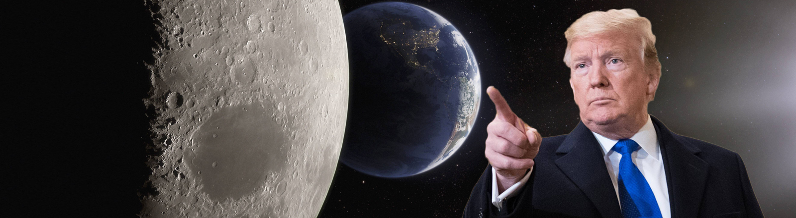 Donald Trump zeigt Richtung Mond.