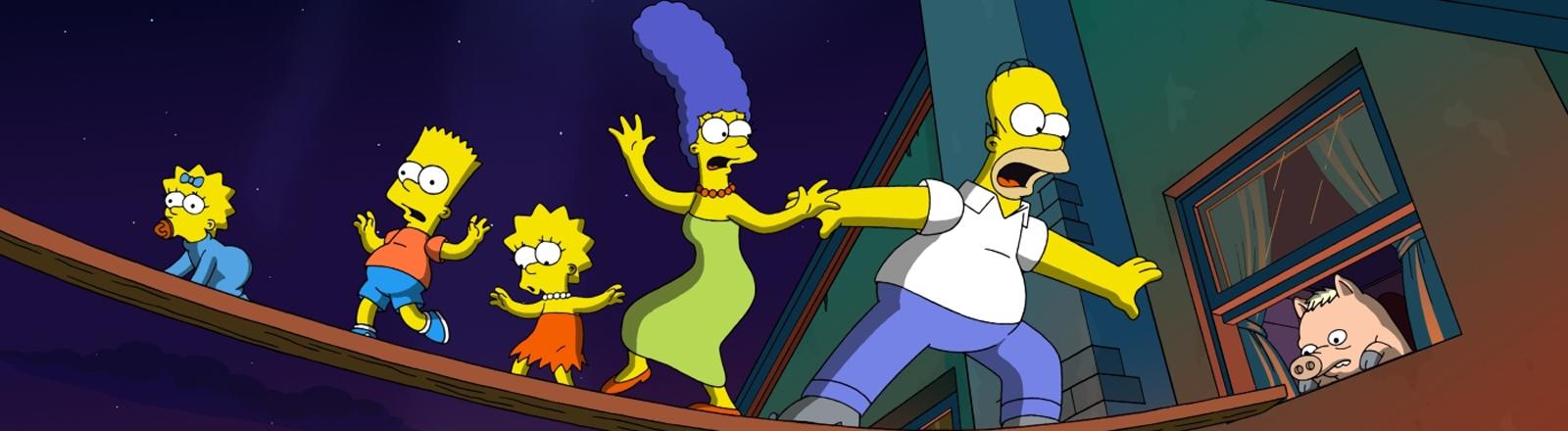 """Im Kinofilm """"Die Simpsons - Der Film"""" balancieren Maggie, Bart, Lisa, Marge und Homer Simpson über eine Holzplanke."""