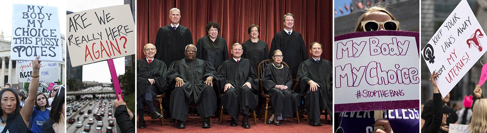 Demonstrierende Abtreibungsgegnerinnen mit einem Plakat und die Mitglieder des US-amerikanischen Supreme Courts.