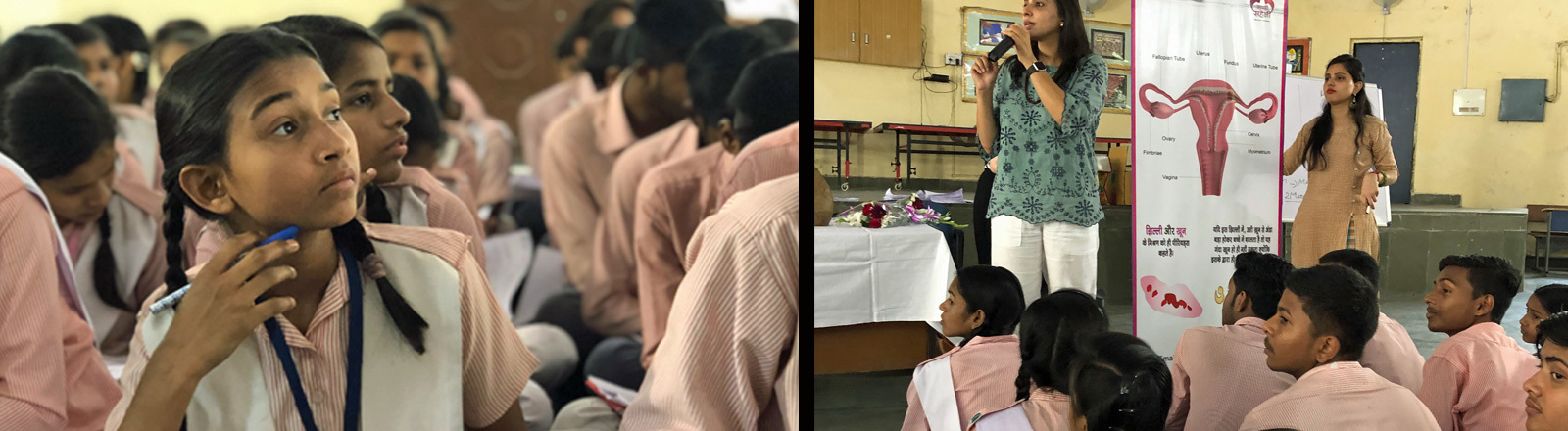 Mädchen und Jungen in Indien sitzen in der Aula einer Schule auf dem Boden. Sie besuchen einen Workshop, der über das Thema Menstruation aufklären will.