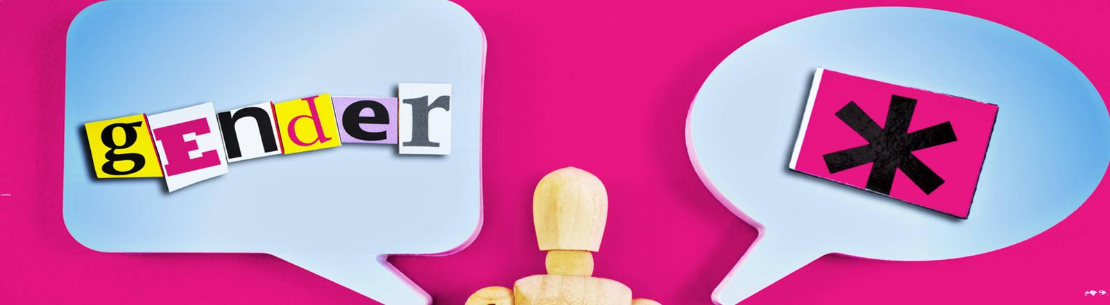 """Eine Holzfigur vor pinkem Hintergrund - in Sprechblasen steht """"gender"""" und ein Gendersternchen."""