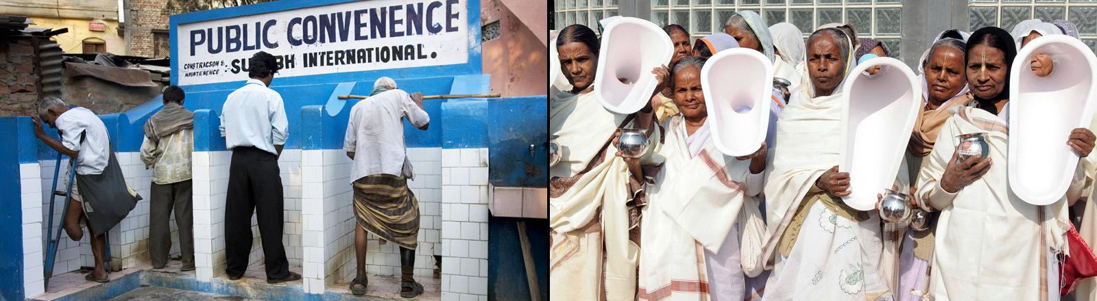 Öffentliches Pissoir in Indien und Frauen mit Kloschüsseln in der Hand.
