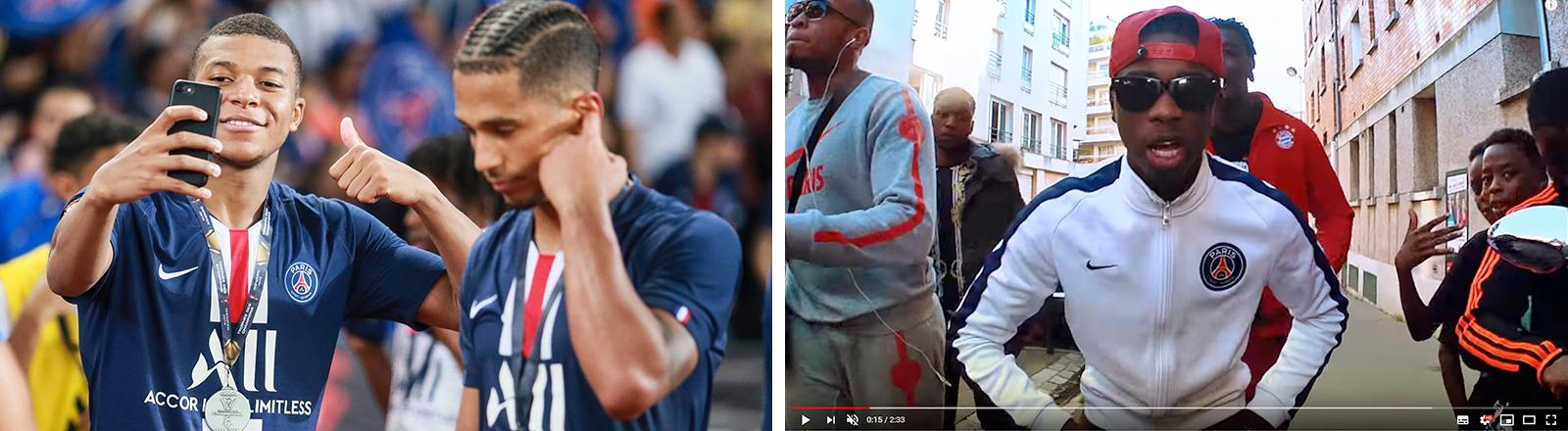 Kylian Mbappe, links,  Fußballspieler des Clubs Paris Saint-Germain macht ein Selfie nach einem erfolgreichen Match. Der Rapper MHD trägt in einem Musikvideo eine Trainingsjacke mit dem Logo von Paris St. Germain.