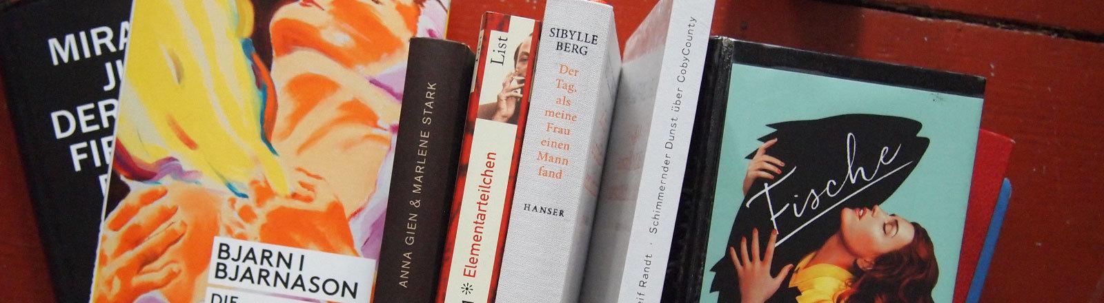 Mehrere Bücher nebeneinander. Ausgewählt von Autorin Lydia Herms. In allen sind Sexszenen. Mal gute, mal weniger gute.