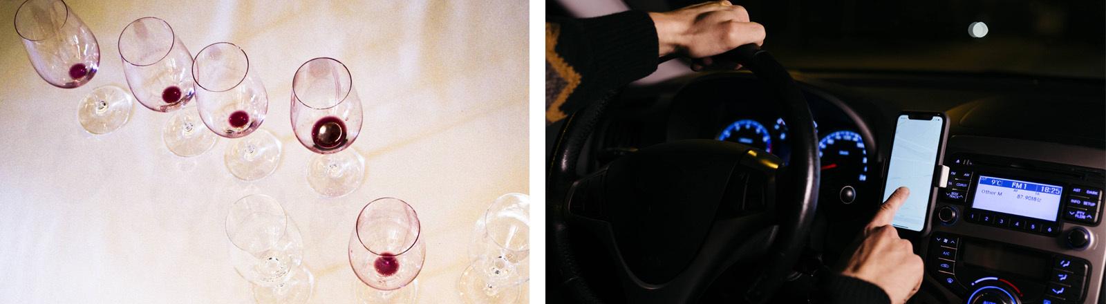 Symbolbild: Mit Alkohol hintrem Steuer