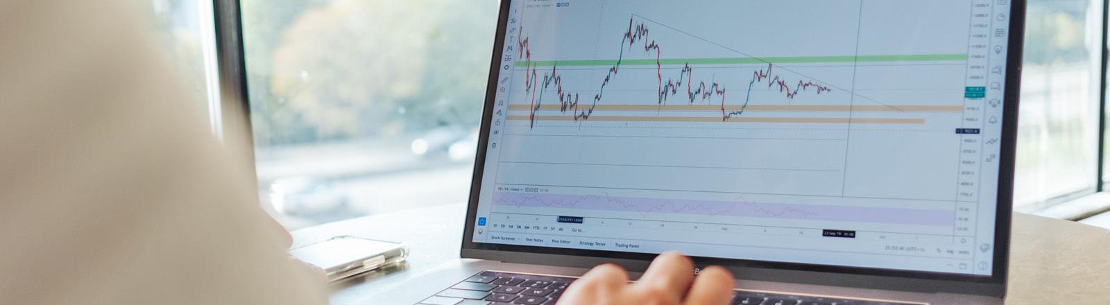 Ein Mann beobachtet an seinem Computer den Aktienkurs