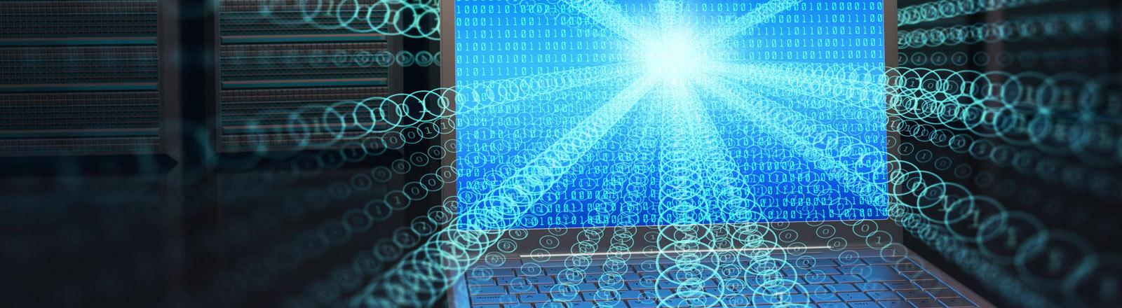 Ein Computer, der symbolhaft viele Daten in alle Richtungen überträgt.