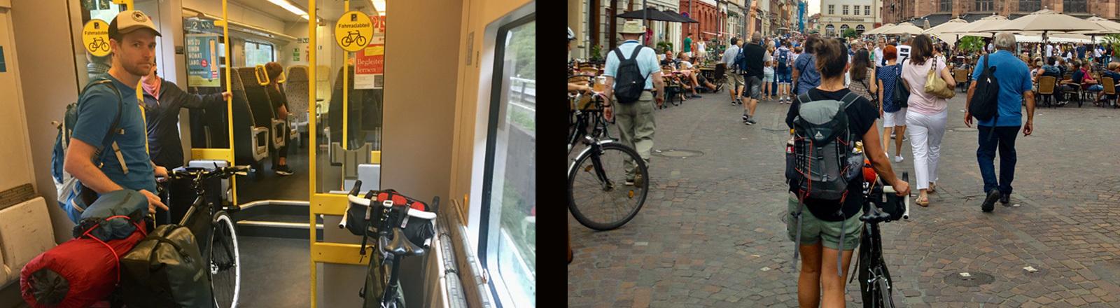 Ein Mann steht in der bahn mit einem Fahrrad - und eine Frau schiebt das Fahrrad durch eine Fußgängerzone.