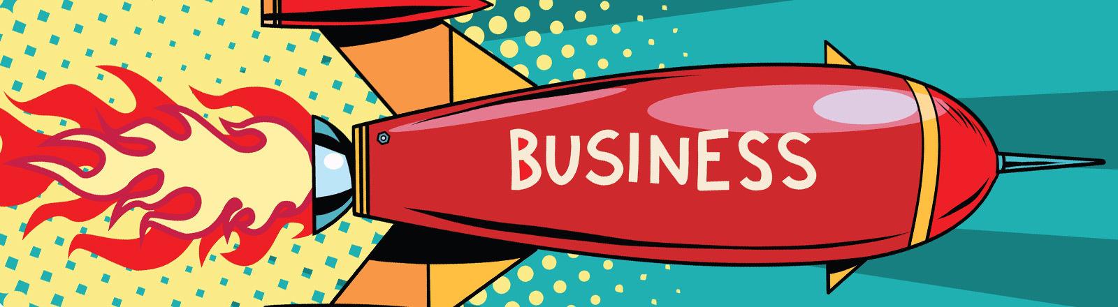 Auf einer Rakete, die abhebt, steht das Wort Business.