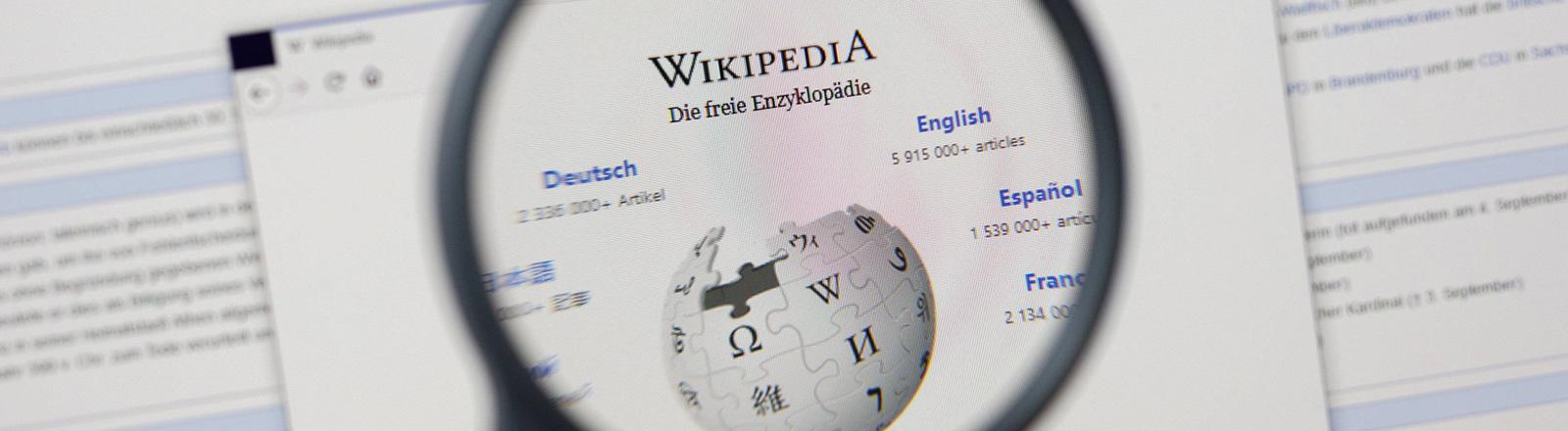 Wikipedia-Seite im Netz abfotografiert. Mit einer Lupe wird das Logo vergrößert dargestellt.