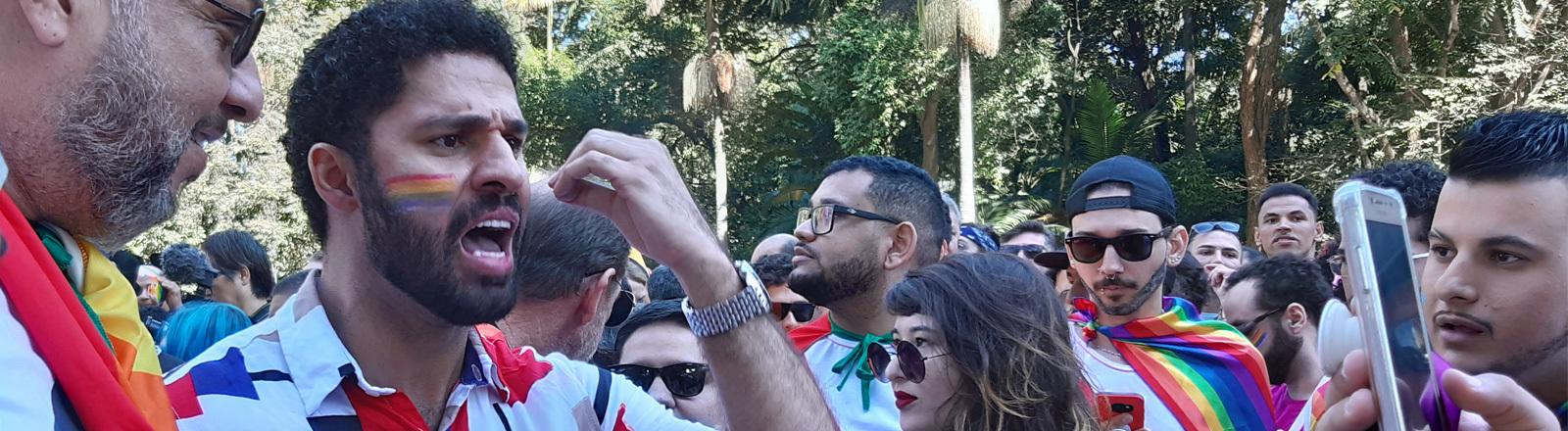 David Miranda auf der Pride Parade in Brasilien.