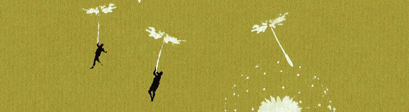 Menschen fliegen auf Löwenzahnsamen davon