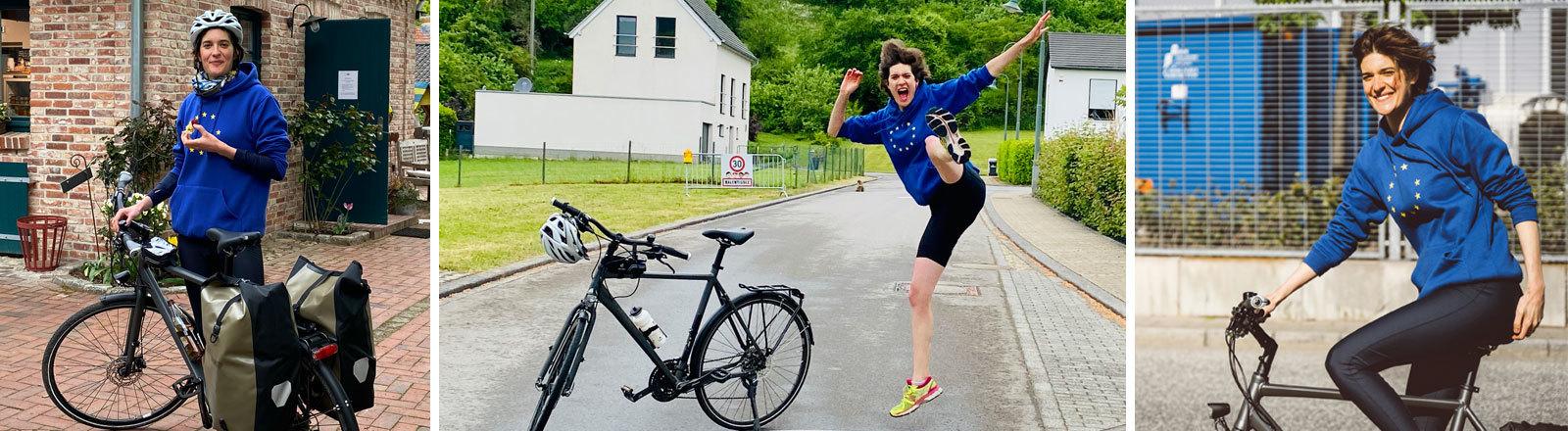 Ann van Wetteren fährt Fahrrad.
