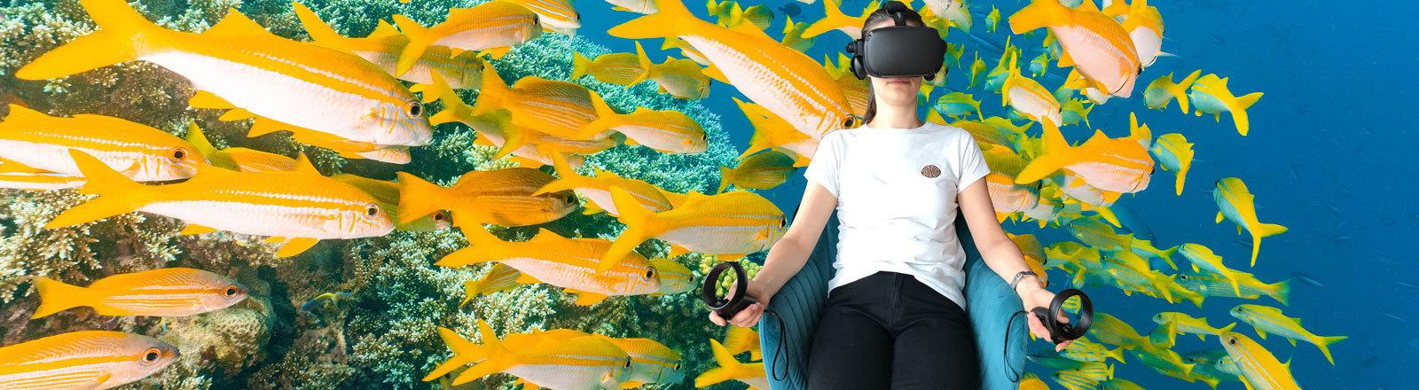 Journalistin Krissy Mockenhaupt mit einer VR-Brille vor einem Hintergrund mit gelben Fischen, die im Wasser schwimmen.