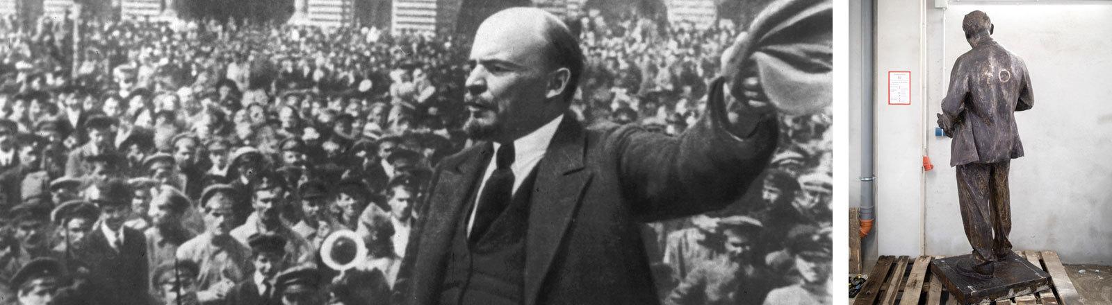 Links: Historisches Foto von Lenin bei einer Rede, rechts: eine Lenin-Statue, die in Gelsenkirchen aufgestellt wird.