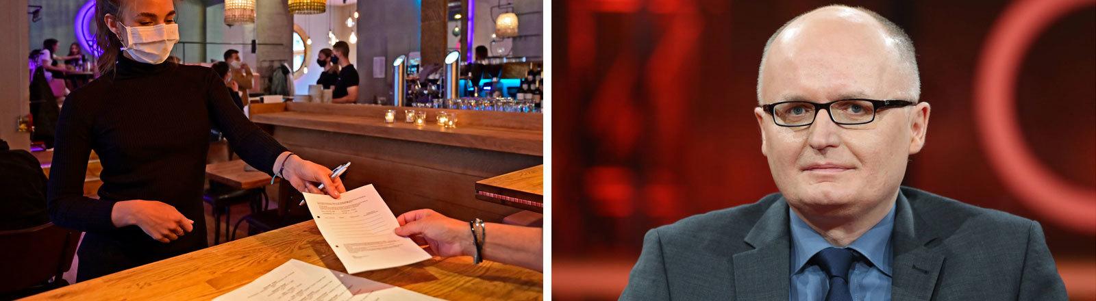 Collage: Eine Bedienung in einer Bar überreicht einem Gast ein Meldeformular und einen Kugelschreiber. Rechtsanwalt Udo Vetter in einer Fernsehsendung.