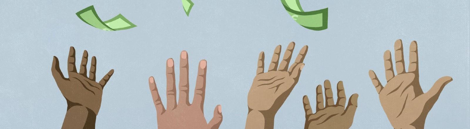Hände strecken nach Geldscheinen, die vom Himmel fallen