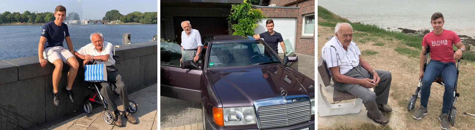 Torben Kroker und Karl-Heinz steigen in einen Mercedes ein.