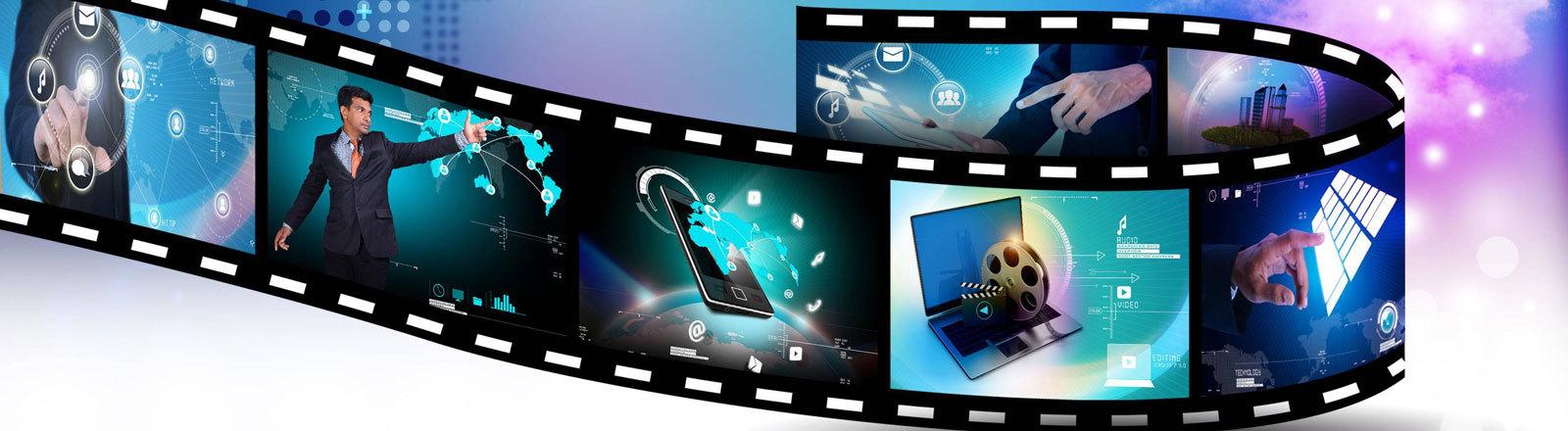 Symbolbild Filmstream: Eine klassische analoge Filmrolle, im Hintergrund Pfeile und Wolken, die den Upload ins Internet symbolisieren sollen.