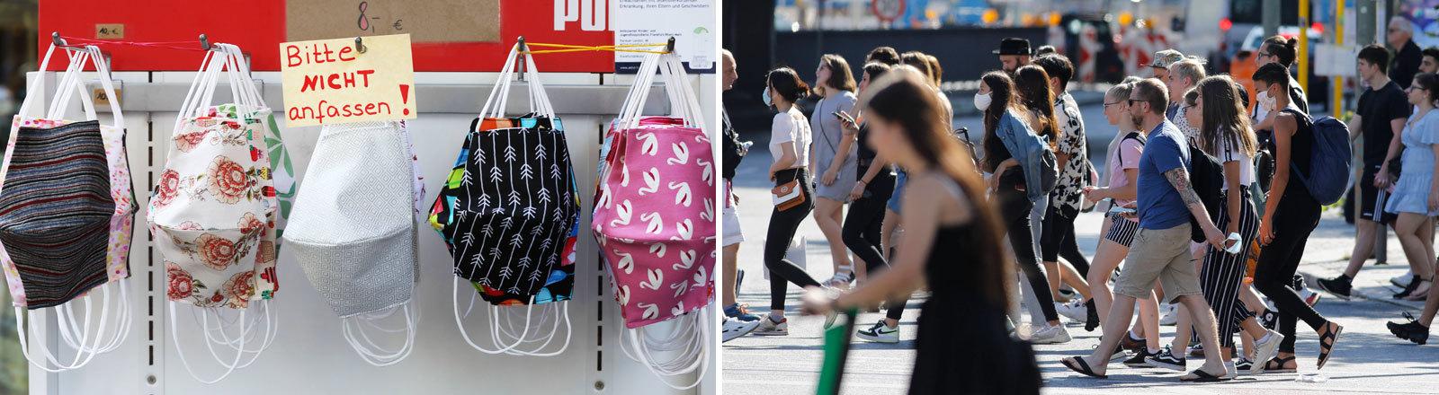 Collage: Gesichtsmasken an einem Verkaufsstand und Fußgänger auf einer Straße.