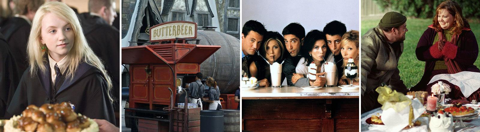 Szenen aus den Serien Friends, Gilmore Girls und Harry Potter und ein großes Fass mit Butterbier.