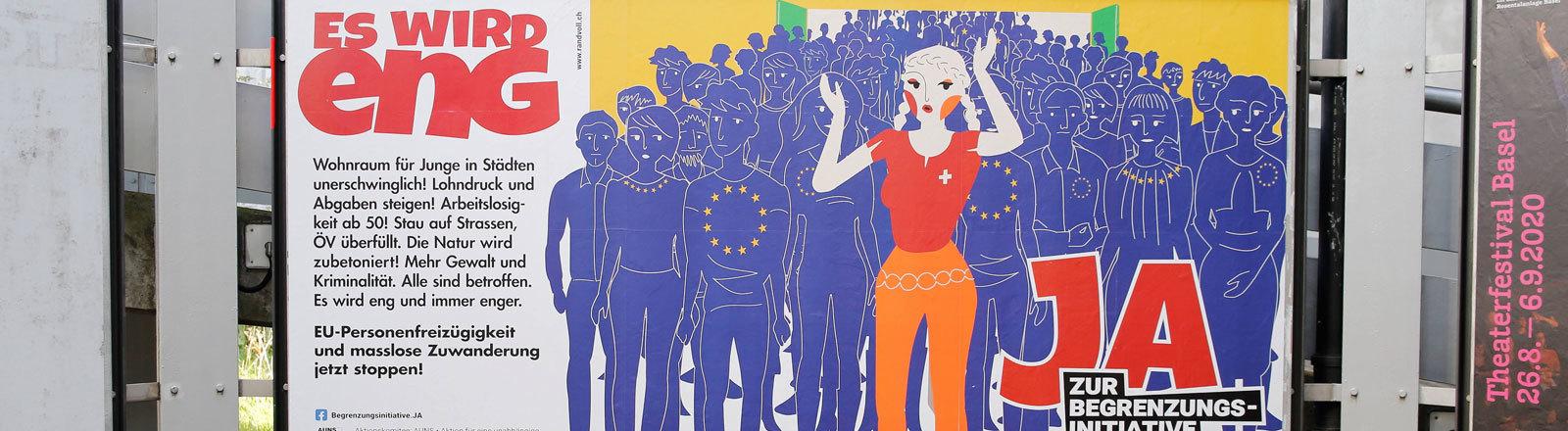 Ein Plakat, das für die Begrenzungsinitiative wirbt.
