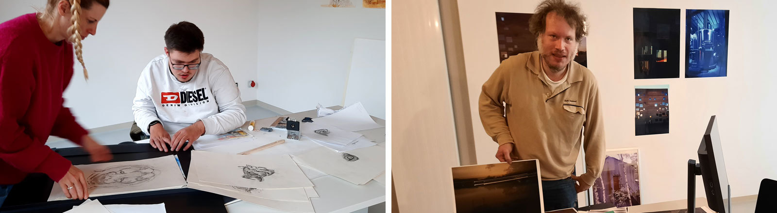 Elias von Martial und Ingo Patzer arbeiten als Künstler im Kunsthaus.